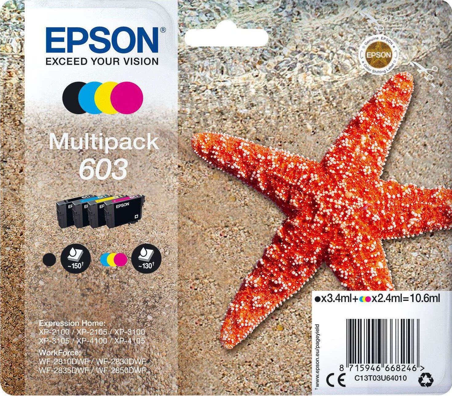 Epson 603 Original 4 Colour Ink Cartridge Multipack